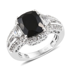 4.25 Ct Black Tourmaline and White Topaz Halo Ring in Platinum Plated Silver 5.19 Grams