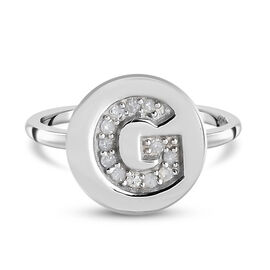 White Diamond Initial-G Ring in Platinum Overlay Sterling Silver