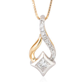 NY Close Out Deal- 14K Yellow and White Gold Diamond (Rnd) (I1-I3/G-H) Pendant with Chain 0.150 Ct.