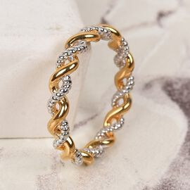 WEBEX- Platinum and Yellow Gold Overlay Sterling Silver Twisted Band Ring