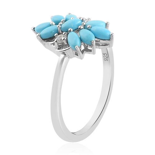 Arizona Sleeping Beauty Turquoise and Natural Cambodian Zircon Floral Ring in Platinum Overlay Sterling Silver 1.00 Ct.