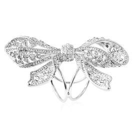 White Austrian Crystal Butterfly Scarf Ring in Silver Tone