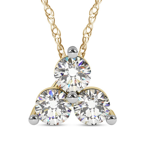 9K Yellow Gold Diamond (Rnd) Trilogy Pendant with Chain SGL Certified (I3/G-H)