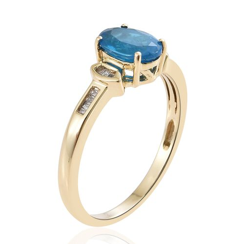 9K Yellow Gold AAA Very Rare Size Malgache Neon Apatite (Ovl 8.5X6.5 mm 1.60 Ct), Diamond Ring 1.700 Ct.