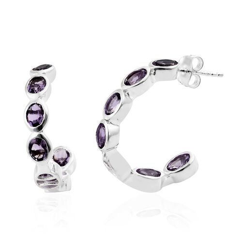 Amethyst (Ovl) Earrings (with Push Back) in Sterling Silver 4.500 Ct.