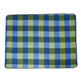 TJC Checker Pattern Picnic Blanket (Size 150x200Cm) in Green & Blue