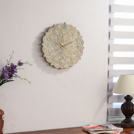 NAKKASHI - Saharanpur Collection - Hand Carved Wooden Wall Clock (Dia 46 Cm) - Round