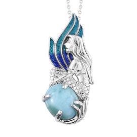 GP Larimar (Ovl 5.00 Ct), Kanchanaburi Blue Sapphire Pendant With Chain (Size 20) in Platinum Overlay Sterling Silver 5.030 Ct, Silver wt 6.00 Gms.