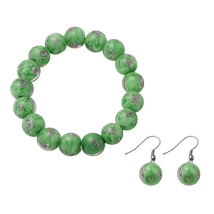 2 Piece Set - Green Murano Glass Strachable Bracelet (Size 6,7.5 with 2 inch Extender) and Hook Earr