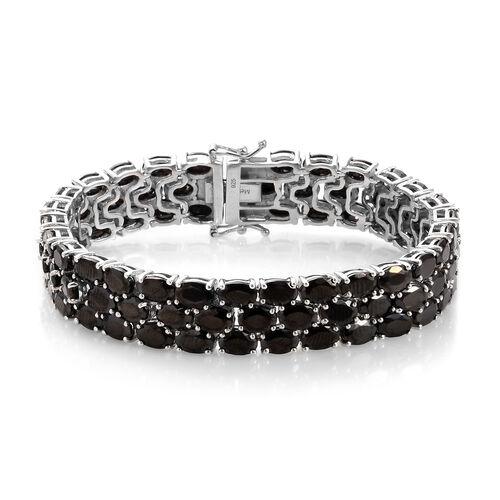 21.50 Ct Elite Shungite Tennis Bracelet in Platinum Plated Sterling Silver 7 Inch