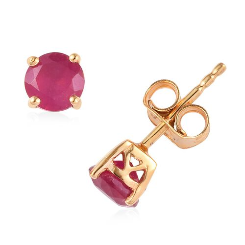 2 Piece Set - African Ruby Pendant with Chain (Size 18) and Stud Earrings (with Push Back) in 14K Gold Overlay Sterling Silver 2.25 Ct.