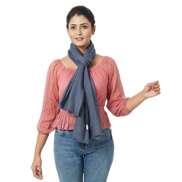 100% Cashmere Wool Dark Grey Colour Shawl (Size 190x70 Cm)