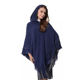 Strip and Rhombus Pattern Hoody Poncho with Tassels (Free Size) Navy Blue Colour