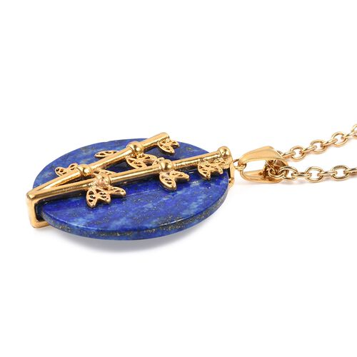 One Time Deal- Lapis Lazuli (Rnd) Nature Inspired Pendant With Chain (Size 20) in Yellow Plated 50.000 Ct