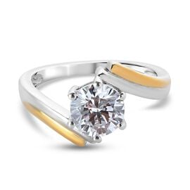 J Francis Platinum and Yellow Gold Overlay Sterling Silver Bypass Ring Made with SWAROVSKI ZIRCONIA 2.27 Ct.