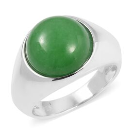 Green Jade (Rnd 12 mm) Solitaire Ring in Rhodium Overlay Sterling Silver 8.160 Ct, Silver wt 5.57 Gms.