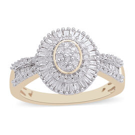 9K Yellow Gold SGL Certified Diamond (Rnd and Bgt) (I3/G-H) Ring 0.500 Ct.