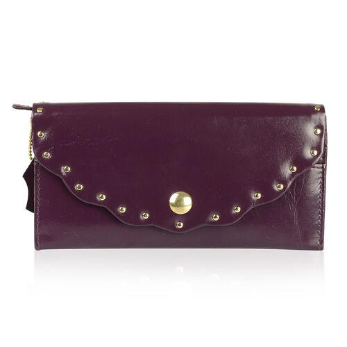 Genuine Leather RFID Blocker Violet Colour Wallet (Size 19X10 Cm)