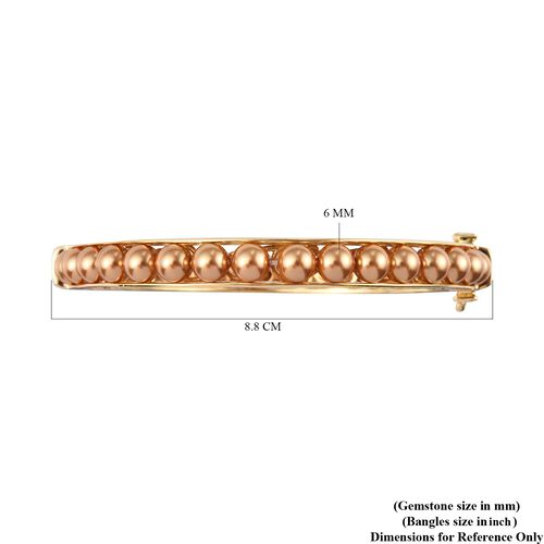 J Francis Crystal from Swarovski Bright Gold Pearl Crystal Ball Bangle (Size 7.5) with Magnetic Clasp Lock in 18K Yellow Gold Tone