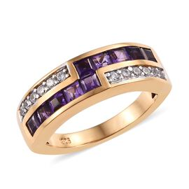 African Amethyst (0.90 Ct),Cambodian Zircon 14K Gold Overlay Sterling Silver Ring  1.000  Ct.