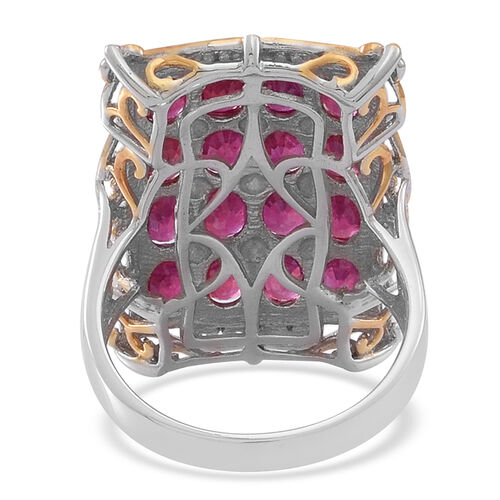 African Ruby (Ovl) Ring in Rhodium Plated Sterling Silver 11.500 Ct.