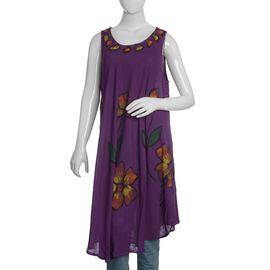 Purple and Multi Colour Umbrella Dress (Size 116x132 Cm)