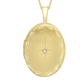 9K Yellow Gold Diamond Oval Locket Pendant
