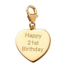 14K Gold Overlay Sterling Silver Happy 21st Birthday Charm