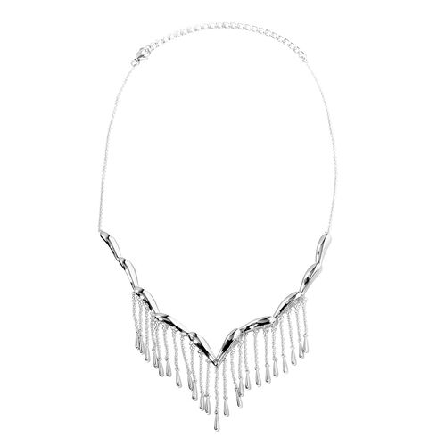 LucyQ Rain Necklace (Size 16 and 4 inch Extender) in Rhodium Overlay Sterling Silver, Silver wt 22.0