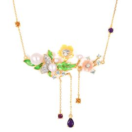 Jardin Collection - Freshwater White Pearl, Yellow and Pink Mother of Pearl and Multi Gemstone Ename
