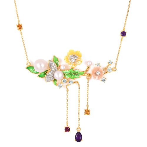 JARDIN COLLECTION - Freshwater White Pearl, Yellow and Pink Mother of Pearl and Multi Gemstone Enameled Necklace (Size 18 with 2 inch Extender) in Rhodium and Gold Overlay Sterling Silver 6.40 Gms