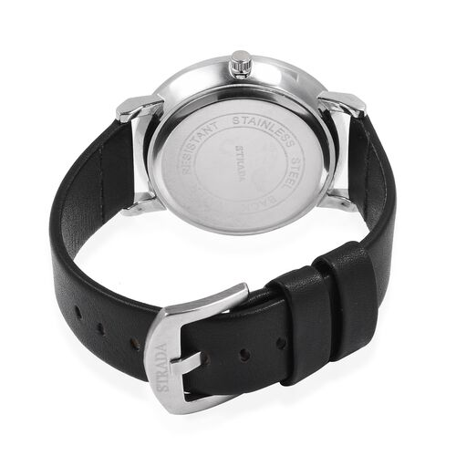 STRADA Silver Colour Plated Water Resistant Watch Black Colour Strap.