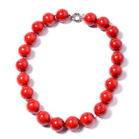 1030 Ct Red Howlite Beaded Necklace 19.5 Inch