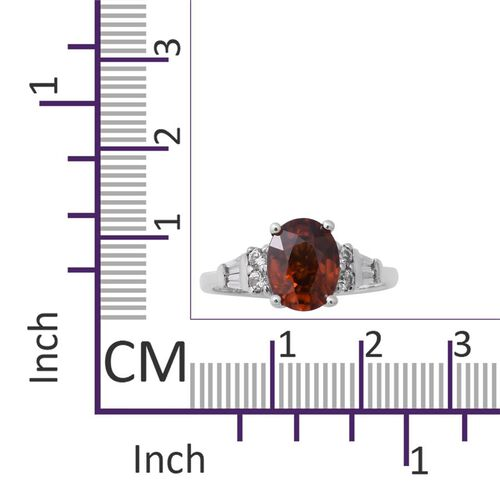 Red Zircon (Ovl 9x7mm), Natural Cambodian Zircon Ring in Rhodium Overlay Sterling Silver 3.20 Ct.