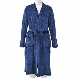 Soft Microfiber Robe with Shiny Stars in the Sky Print (Size 65x120 Cm) - Trafalgar Blue