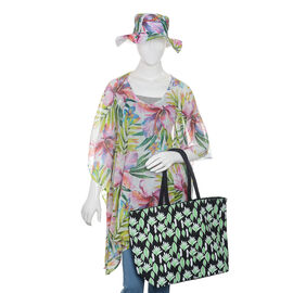 100% Cotton Off White, Pink and Multi Colour Flower and Leaves Pattern Apparel (Free Size), Cap (Siz