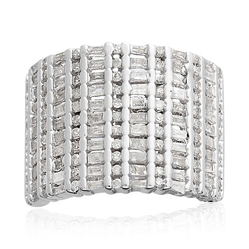 Diamond (Rnd and Bgt) Ring in Platinum Overlay Sterling Silver 1.000  Ct, Silver wt: 8.46 Gms, Number of Diamond 143