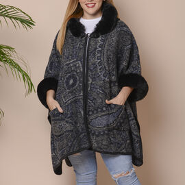 Navy and Black Colour Faux Fur Hat Cape with Cashew Flower Pattern (Size 124.46 x 78.74 Cm)