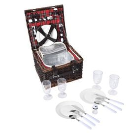 Picnic Basket for 4 People (Includes 4 x Ceramic plates, 4 x Goblets, 4 x Knife, 4 x Fork, 4 x Spoon