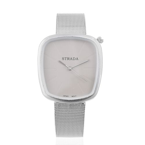 Designer Inspired - STRADA Japanese Movement Grey Dial Watch in Silver Tone