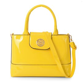 Boutique Collection Yellow Colour Tote Bag with Detachable Shoulder Strap (Size 32x11x23 Cm)