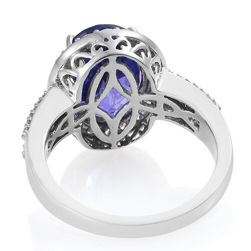 RHAPSODY 950 Platinum AAAA Vivid Intense Tanzanite (Ovl 6.94 Ct), Diamond (VS/E-F) Ring 8.000 Ct.