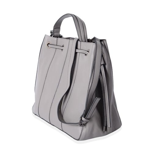 Set of 2 - 100% Genuine Leather Grey Colour Satchel Bag with Removable Shoulder Strap (Size 29x26.5x15 Cm) and Pouch (Size 25x13 Cm)
