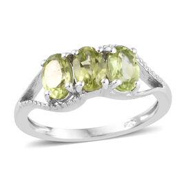 Hebei Peridot (Ovl) Three Stone Ring in Platinum Overlay Sterling Silver 1.50 Ct.