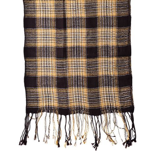 100% Wool Brown, Yellow and Multi Colour Checks Pattern Scarf with Tassels (Size 160X40 Cm)