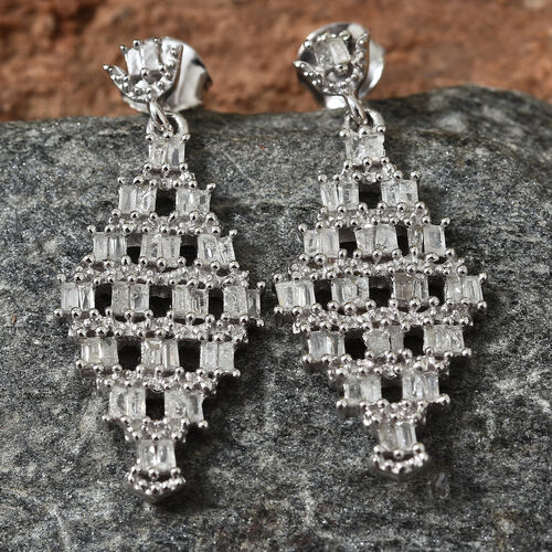 GP Diamond (Bgt), Kanchnaburi Blue Sapphire Earrings (With Push Back) in Platinum Overlay Sterling Silver 1.040 Ct.