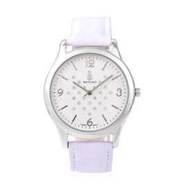 STRADA Japanese Movement Austrian White Crystal (Rnd) Water Resistant Watch in Silver Tone - White