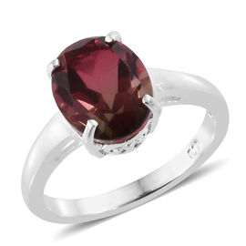 Finch Quartz (Ovl 10x8 mm) Solitaire Ring in Sterling Silver  3.000 Ct.