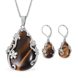 2 Pcs Set 70 Carat Yellow Tiger Eye and White Crystal Solitaire Drop Earring and Pendant With Chain