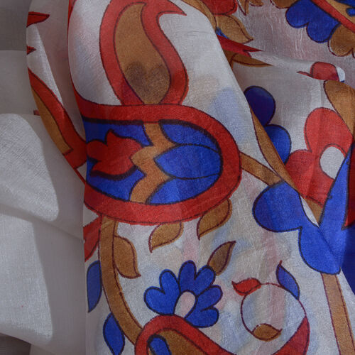 100% Mulberry Silk Red, White and Multi Colour Paisley Pattern Pareo (Size 180x100 Cm)